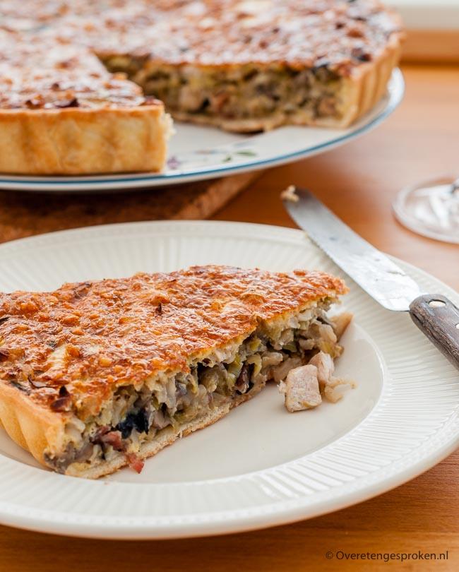 Quiche met prei en kip - Goed gevulde hartige taart. Ideaal als avondmaaltijd.