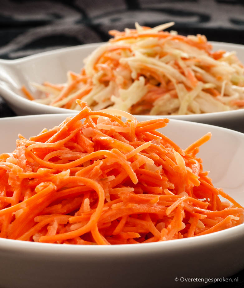 Wortelsalade - Recept voor 2 soorten wortelsalade: wortel met gember en coleslaw.