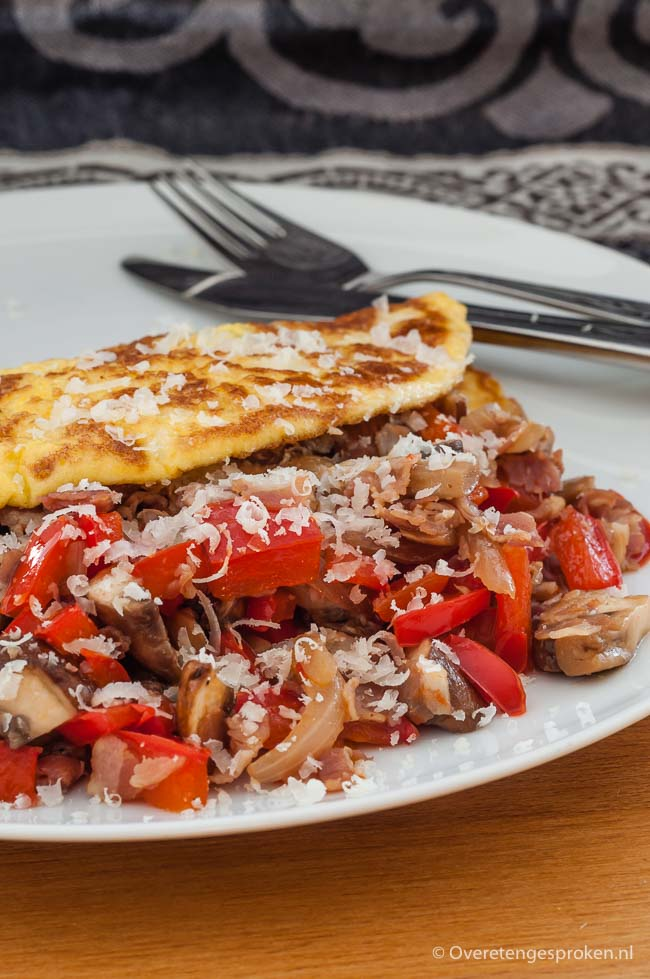 Gevulde omelet - Ideaal als je een keer geen zin hebt om lang in de keuken te staan. Makkelijk, lekker en gezond!