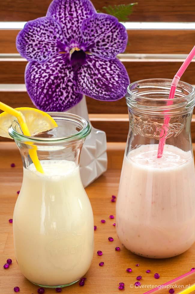 Verfrissende yoghurtdrank - Meng magere yoghurt, water en wat gepureerd fruit en je geniet in een handomdraai van een pure en frisse dorstlesser.
