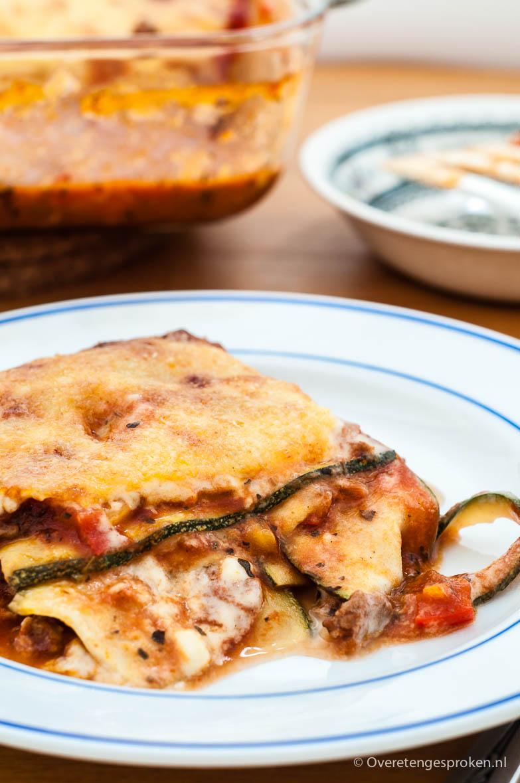 Lasagne van courgette - Een traditionele lasagne maar dan met laagjes courgette in plaats van pastavellen. Net zo vol van smaak maar lichter verteerbaar.