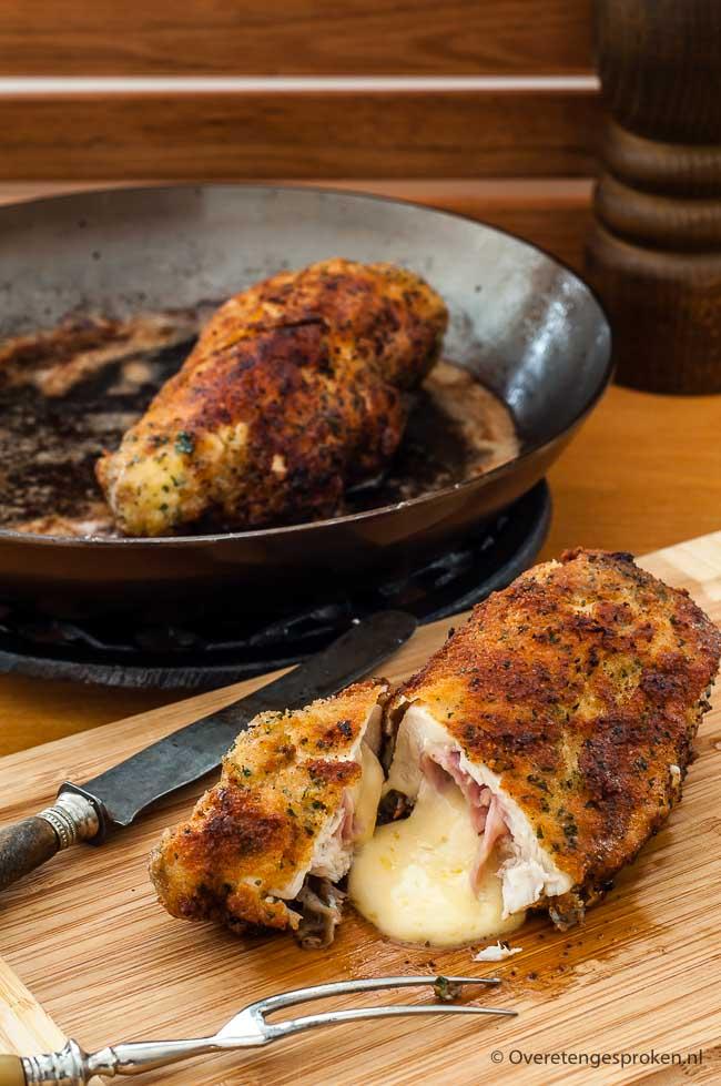 Kip cordon bleu - Kipfilet gevuld met ham en zacht smeltende kaas in een krokant jasje.