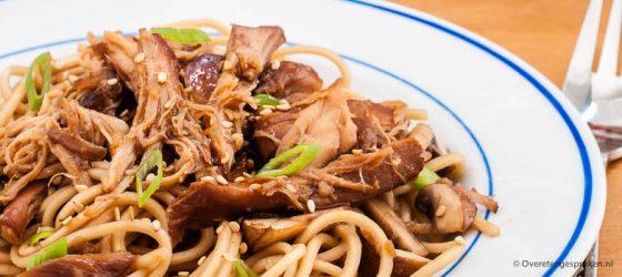 Pulled chicken met teriyakisaus en noodles