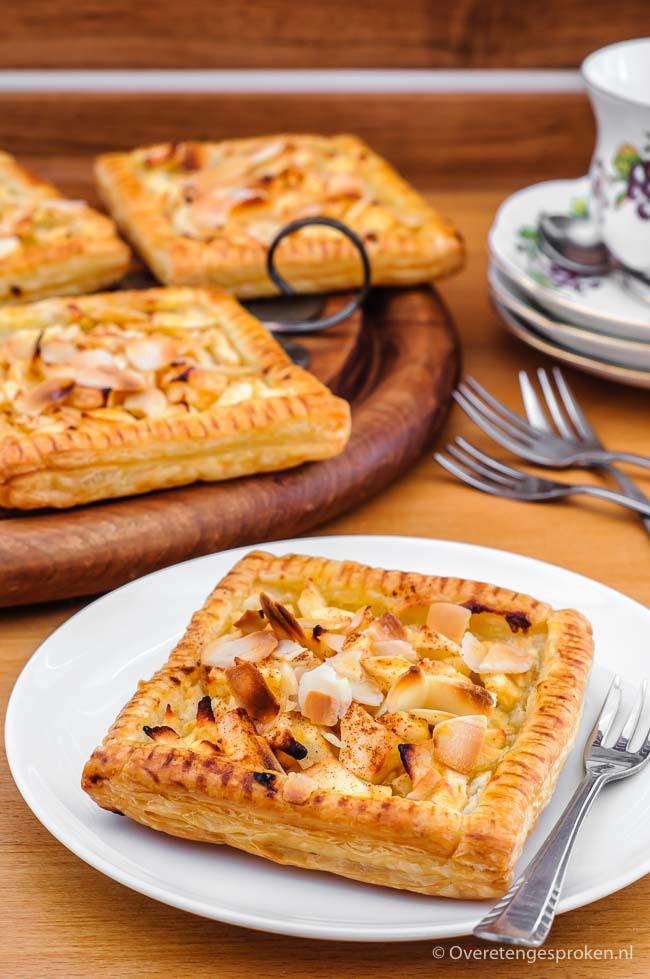 Appelgalette - Bros gebak van bladerdeeg met amandelspijs, frisse blokjes appel en een vleugje kaneel. Lekker bij de koffie of met een bol ijs als dessert.
