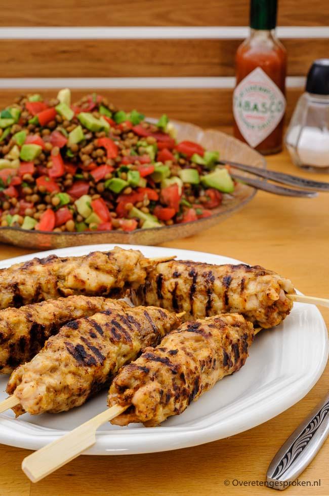 Tex Mex gehaktspiezen - Gegrilde gehaktspiezen gekruid met pittige tacokruiden. Lekker met brood en een mexicaanse salade of natuurlijk bij een barbecue.
