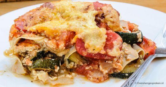 Lasagne met gegrilde groenten en Risenta