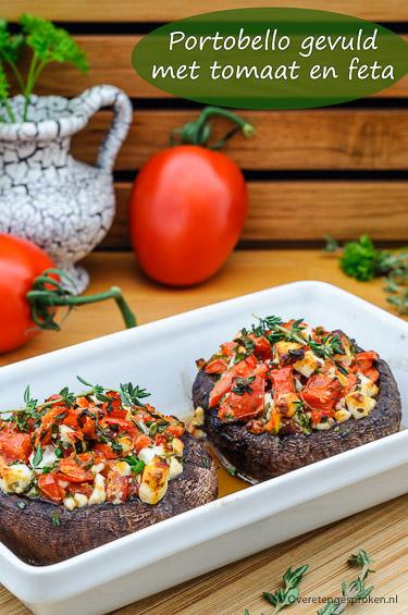 Portobello gevuld met tomaat en feta - Verrassend gerecht vol verse smaken. Kleurrijk, superlekker, gezond en ook nog eens kinderlijk eenvoudig om te maken.