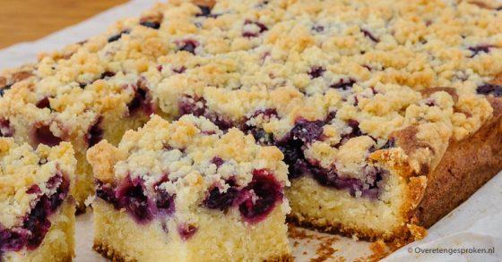 Plaatcake met blauwe bessen