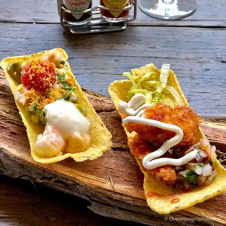 Tabasco lunch - Taco shells met gefrituurde kip en gebrande langoustine
