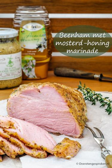 Beenham met honing-mosterd marinade