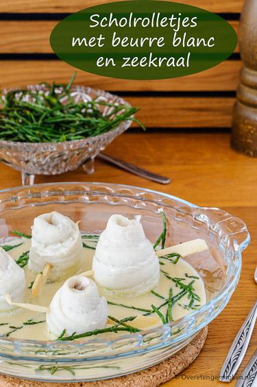 Scholrolletjes met beurre blanc en zeekraal Tongstrelend gerecht van zachte scholfilet in een volle botersaus met witte wijn en Noilly Prat. Heerlijk!