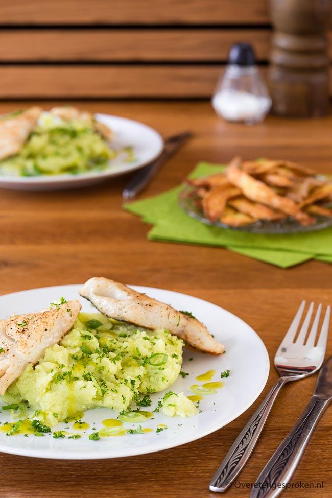 Wijting met peterseliestamp - Zachte witvis met een smaakvolle peterseliepuree, peterselie olie en een frisse vinaigrette.