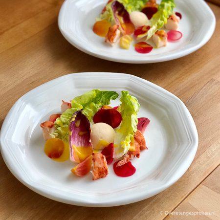 Kreeft salade met lente groente en yuzu dressing - Olivijn