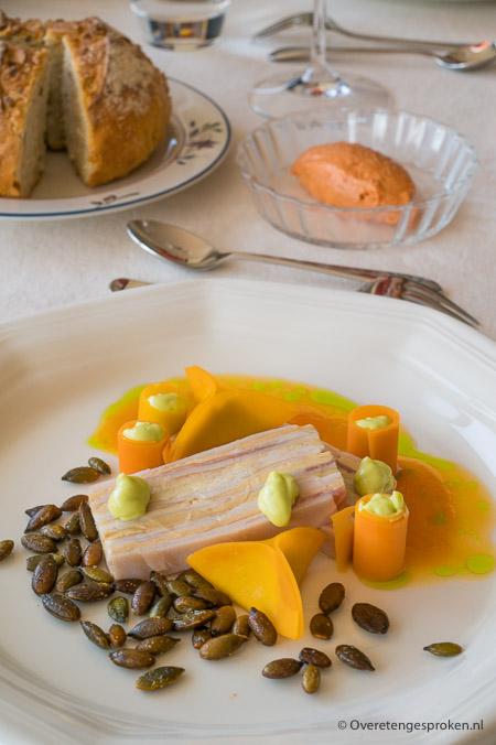 Marbré van maishoender, eendenlever en lardo