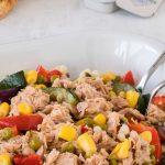 Parelcouscous met geroosterde zomergroente en tonijn - Fijne zomerse salade. Prima voor te bereiden dus ook geschikt voor onderweg.