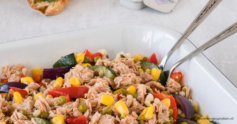 Parelcouscous met geroosterde zomergroente en tonijn