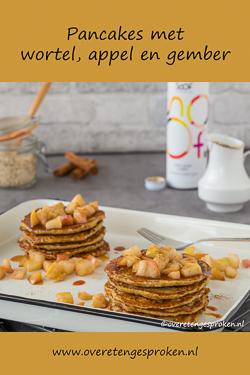 Pancakes met wortel, appel en gember - Verrassend van smaak door de wortel en gember. De topping van gebakken appeltjes maakt het helemaal af.
