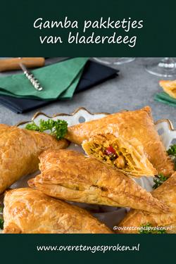 Gamba pakketjes - Rijke vulling van gamba's, mihoen en kruiden verpakt in bladerdeeg. Heerlijk als borrelhapje, bij soep of een salade.