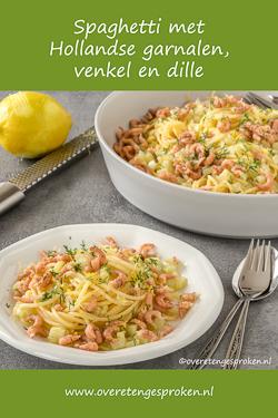 Spaghetti met Hollandse garnalen, venkel en dille - Makkelijk, lekker èn goedkoop gerecht. Voor nog geen €15 geniet je er met 4 personen van.