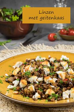 Linzen met geitenkaas - Pure smaken met de lichte tinteling van een pepertje en een zoet tintje van de geitenkaas. Comfort food it is!