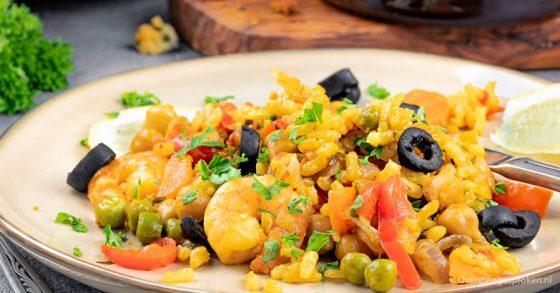 Paella met garnalen