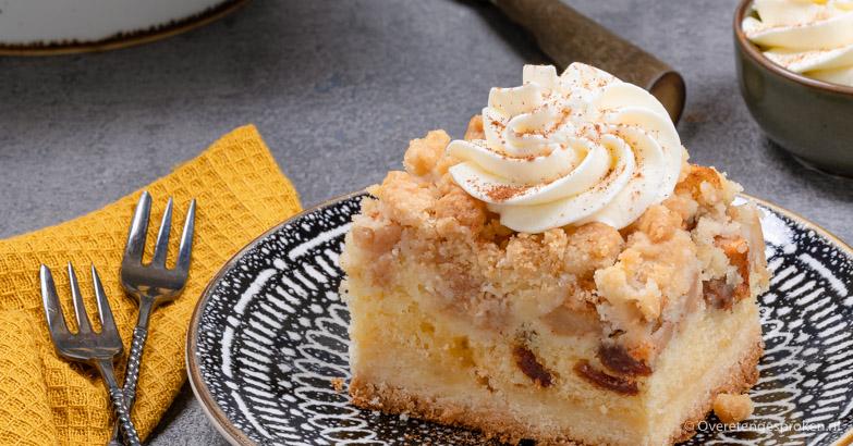 Appelcake met koekbodem