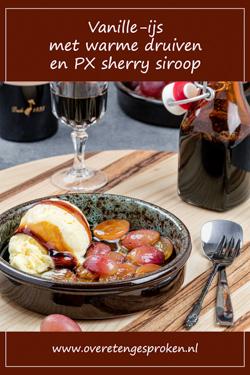 Vanille-ijs met warme druiven en PX sherry siroop - Warme vruchten, romig ijs en de verwarmende smaak van PX: dit toetje is echt hemels!